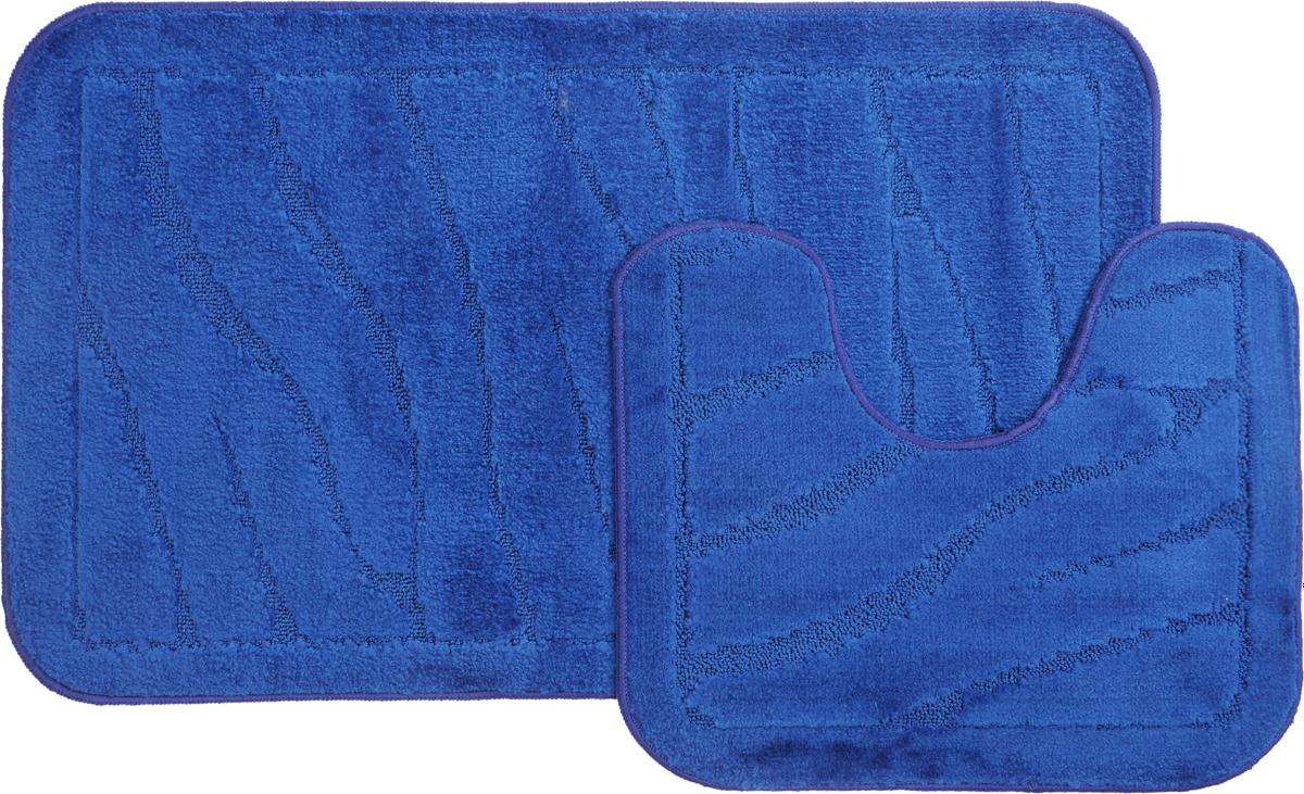 """Набор ковриков для ванной MAC Carpet """"Рома. Линии"""", цвет: темно-синий, 60 х 100 см, 50 х 60 см, 2 шт"""