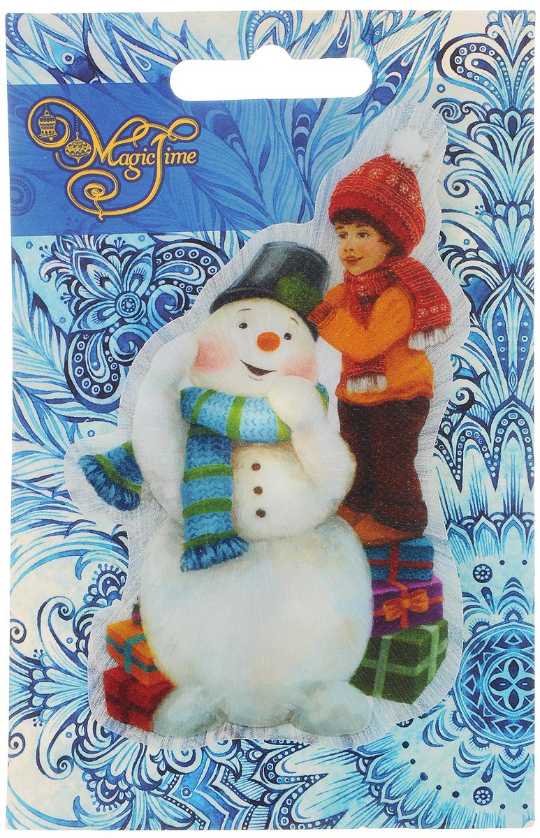 Украшение новогоднее Magic Time Снеговик и мальчик, со светодиодной подсветкой, 12 x 7,5 x 3 см stainless steel home security door stop alarm 3 x lr44