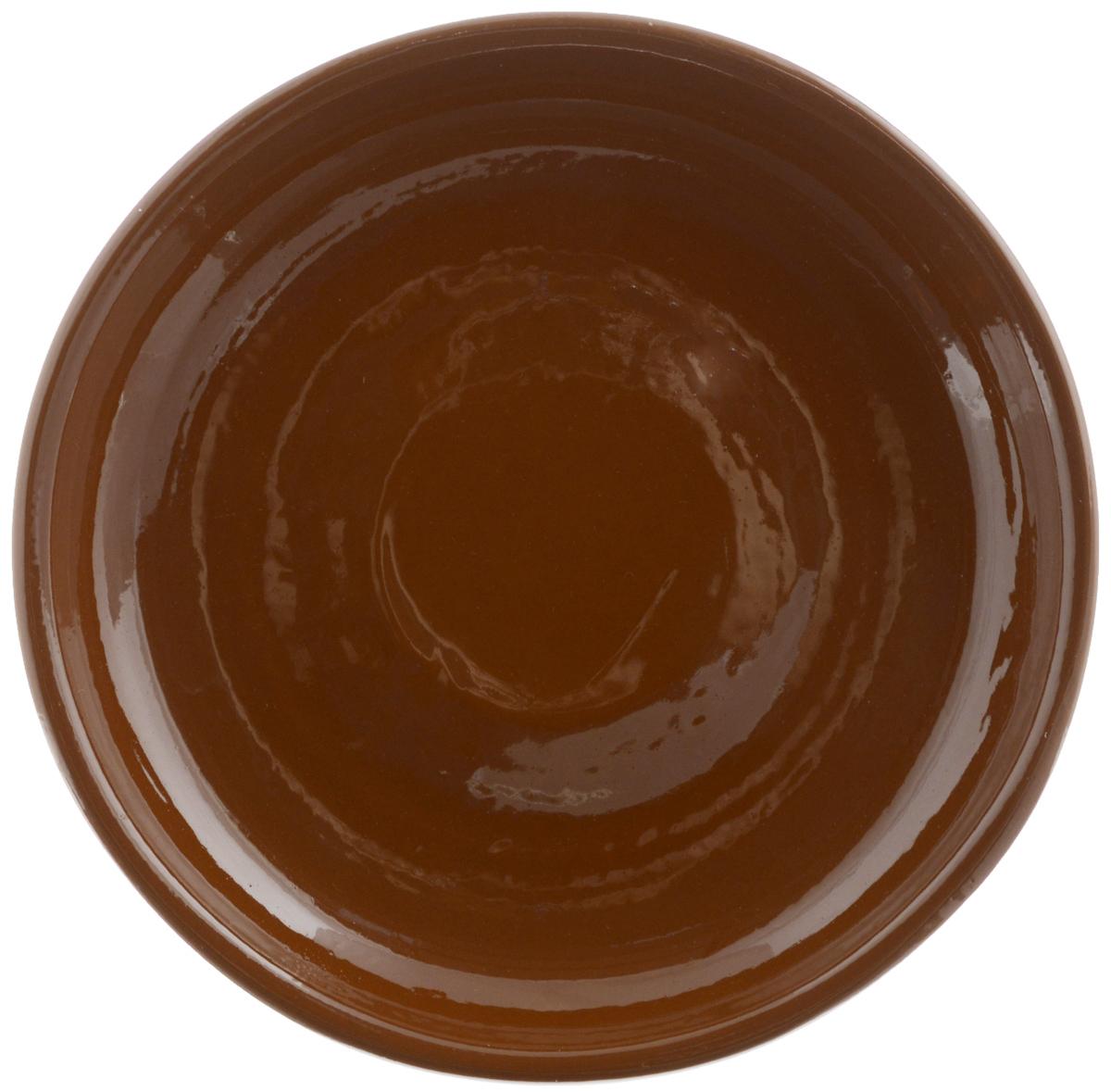 """Тарелка Борисовская керамика """"Радуга"""", цвет: коричневый, диаметр 18 см"""
