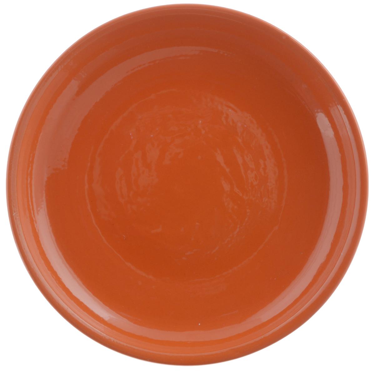 """Тарелка Борисовская керамика """"Радуга"""", цвет: оранжевый, диаметр 18 см"""