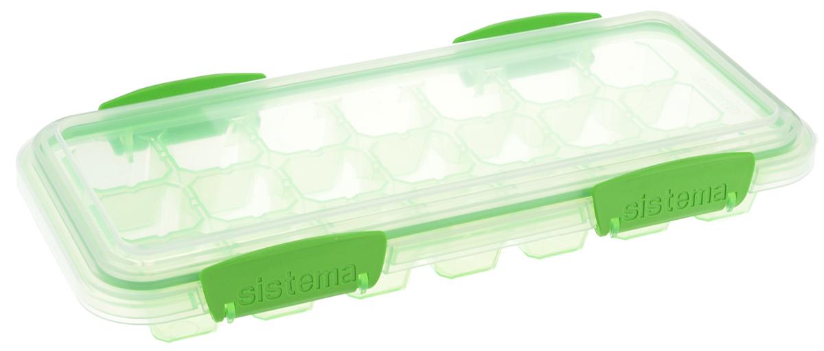 """Форма для льда Sistema 61448_салатовый, Пластик61448_салатовыйКонтейнер Sistema """"Hydrate"""" предназначен для приготовления 21 кубика льда. На крышке имеется прорезиненный обод, который способствует более герметичному закрыванию, в связи с чем продукты дольше сохраняют свои свойства. Контейнер оснащен фиксирующимися зажимами - клипсами, которые при необходимости можно будет заменить.Размер контейнера: 27,5 х 12,5 х 4,3 см."""