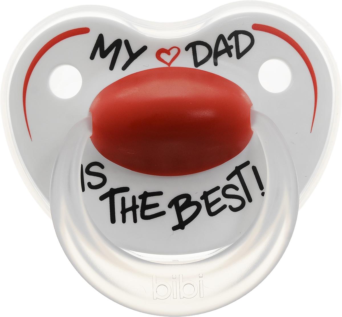 Bibi Пустышка силиконовая Happiness My Dad is the Best от 6 до 16 месяцев