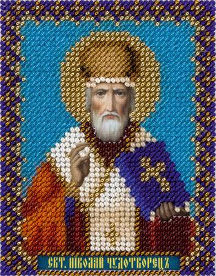 Набор для вышивания бисером Panna Икона Святителя Николая Чудотворца, 8,5 x 11 см цена