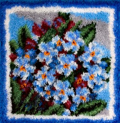 """Набор для вышивания в ковровой технике Panna """"Голубые цветочки"""", 40 x 40 см"""