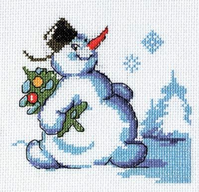 Набор для вышивания крестом Кларт Снеговик с елкой, 13 x 12 см набор для вышивания крестом кларт лицо птицы 8 x 13 см
