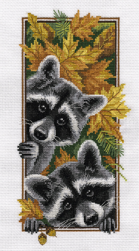 Набор для вышивания крестом Panna Любопытные еноты, 27 x 15 см набор для вышивания крестом panna благословение успех 27 х 15 см