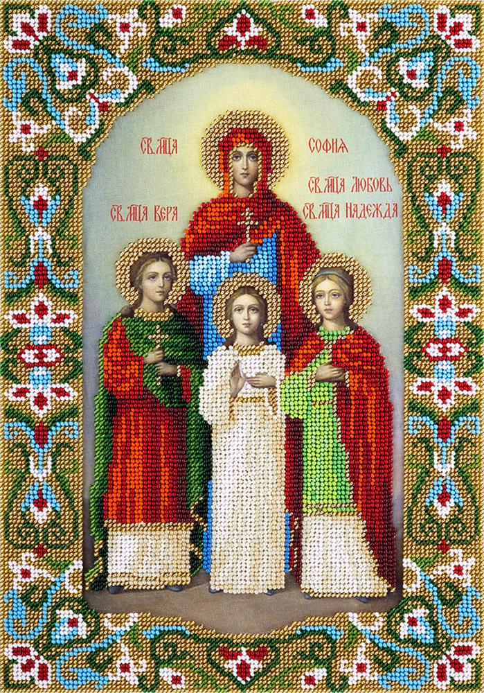 Набор для вышивания бисером Panna Икона Святых мучениц Веры, Надежды, Любови и матери их Софии, 23 x 32 см акафист святым мученицам вере надежде любови и матери их софии