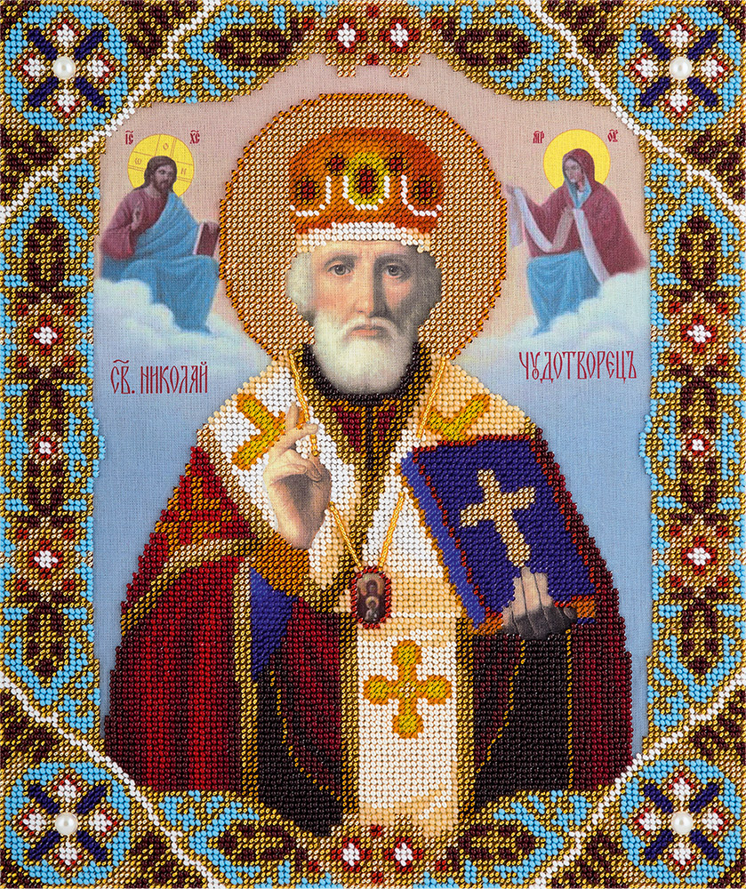 Набор для вышивания бисером Panna Икона Святителя Николая Чудотворца Мирликийского, 25,5 x 30,5 см цена