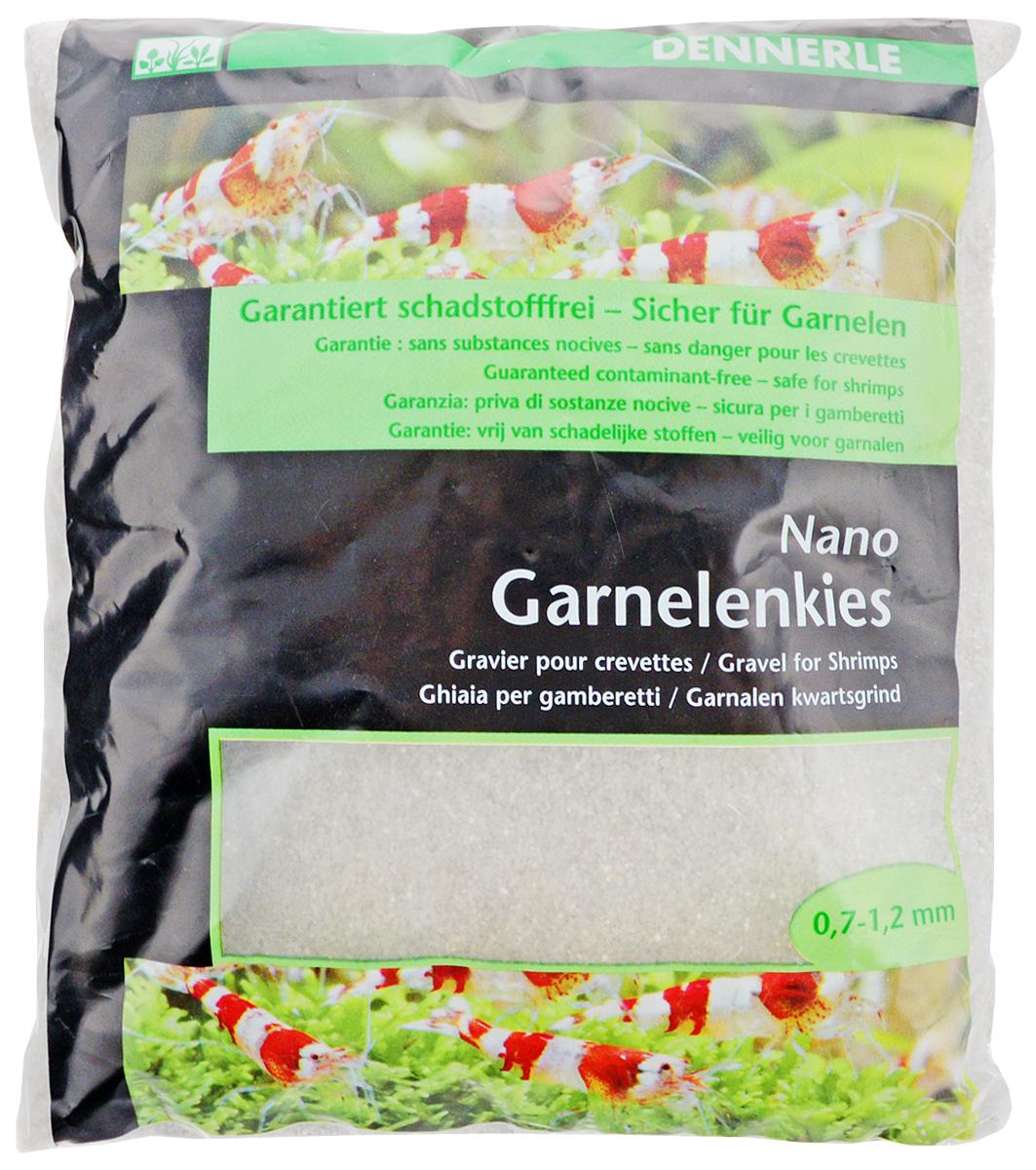 Грунт для аквариума Dennerle Nano Garnelenkies, натуральный, цвет: светло-серый, 0,7-1,2 мм, 2 кг грунт для аквариума dennerle кристал кварц сланцево серый 1 2мм 10кг