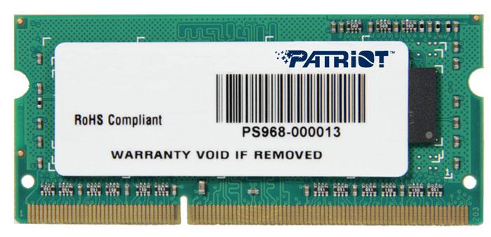 Модуль оперативной памяти Patriot DDR3 SO-DIMM 4GB 1600МГц (PSD34G160081S)