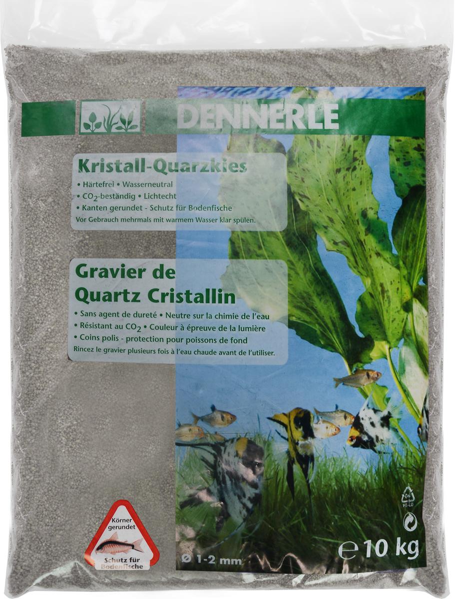 Грунт для аквариума Dennerle Kristall-Quarz, натуральный, цвет: серый, белый, 1-2 мм, 10 кг грунт для аквариума dennerle кристал кварц сланцево серый 1 2мм 5кг
