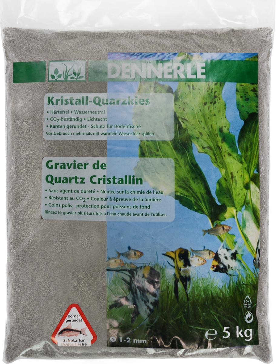 Грунт для аквариума Dennerle Kristall-Quarz, натуральный, цвет: серый, белый, 1-2 мм, 5 кг грунт для аквариума dennerle кристал кварц сланцево серый 1 2мм 10кг