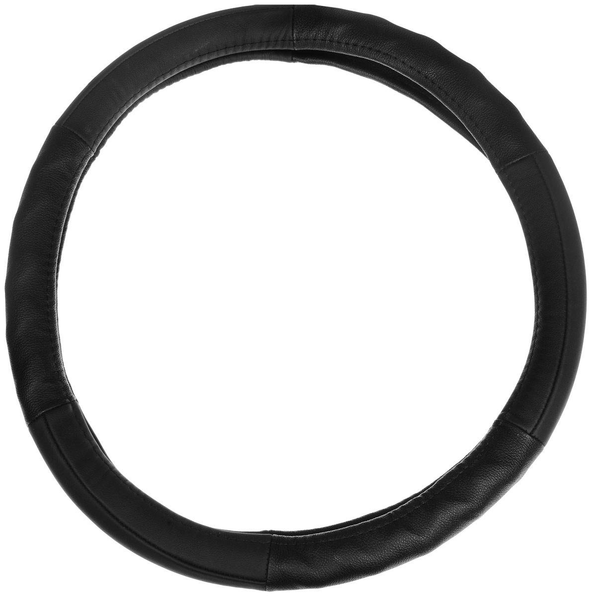 Оплетка руля Autoprofi AP-300, протектор елочкой, цвет: черный. Размер M (38 см). AP-300 BK (M) цена