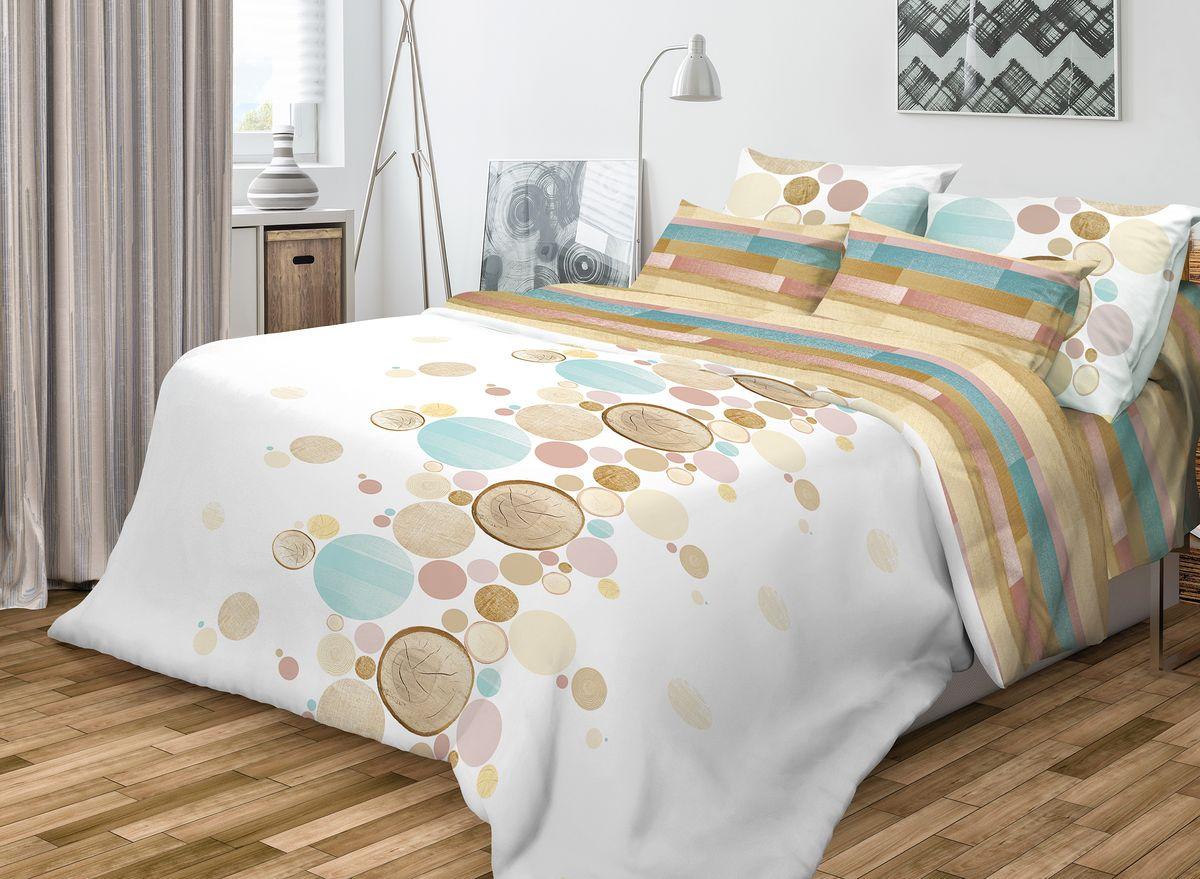 """Комплект белья Волшебная ночь """"Wood"""", 1,5-спальный, наволочки 50x70, цвет: белый, мультиколор"""