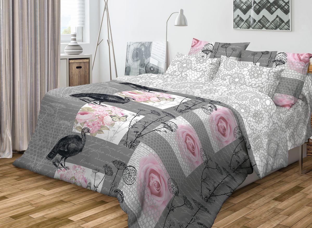 """Комплект белья Волшебная ночь """"Coco"""", евро, наволочки 70x70, цвет: серый, розовый"""
