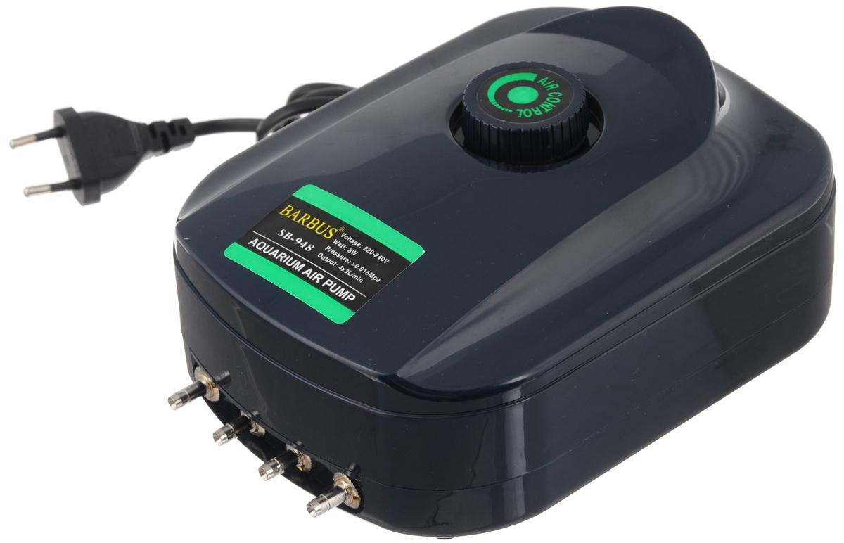 Компрессор воздушный Barbus SB-948, с регулятором, 4 канала, 3,5 л/мин, 8 Вт компрессор воздушный barbus sb 248a с регулятором 1 канал 3 5 л мин