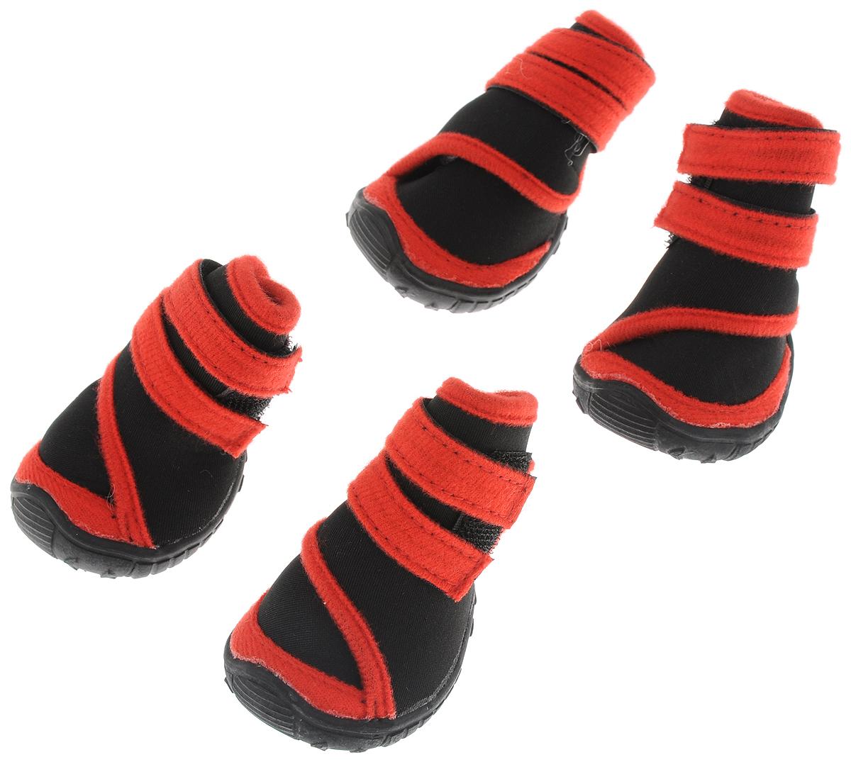"""Сапоги для собак """"Triol"""", унисекс, цвет: черный, красный. Размер XS"""