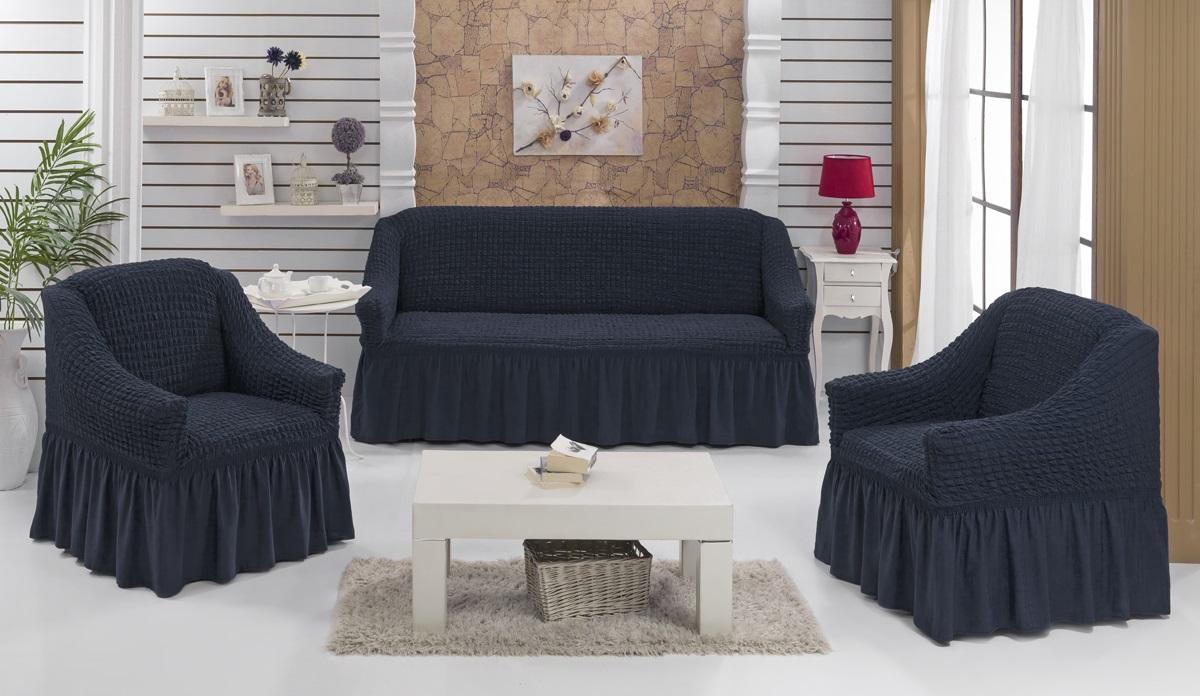 Набор чехлов для мягкой мебели Burumcuk Bulsan, цвет: черный, размер: стандарт, 3 шт1717/CHAR016Набор чехлов для мягкой мебели Burumcuk Bulsan придаст вашей мебели новый внешний вид. Каждый элемент интерьера нуждается в уходе и защите. В большинстве случаев потертости появляются на диванах и креслах. В набор входит чехол для трехместного дивана и два чехла для кресла. Чехлы изготовлены из 60% полиэстера и 40% хлопка. Такой материал прекрасно переносит нагрузки, долго не стареет и его просто очистить от грязи. Набор чехлов Karna Bulsan создан для тех, кто не планирует покупать новую мебель каждый год. Размер кресла: Ширина и глубина посадочного места: 70-80 см. Высота спинки от посадочного места: 70-80 см. Высота подлокотников: 35-45 см. Ширина подлокотников: 25-35 см. Высота юбки: 35 см. Размер дивана: Ширина посадочного места: 210-260 см. Глубина посадочного места: 70-80см. Высота спинки от посадочного места: 70-80 см. Ширина подлокотников: 25-35 см. Высота юбки: 35 см. Рекомендуем!