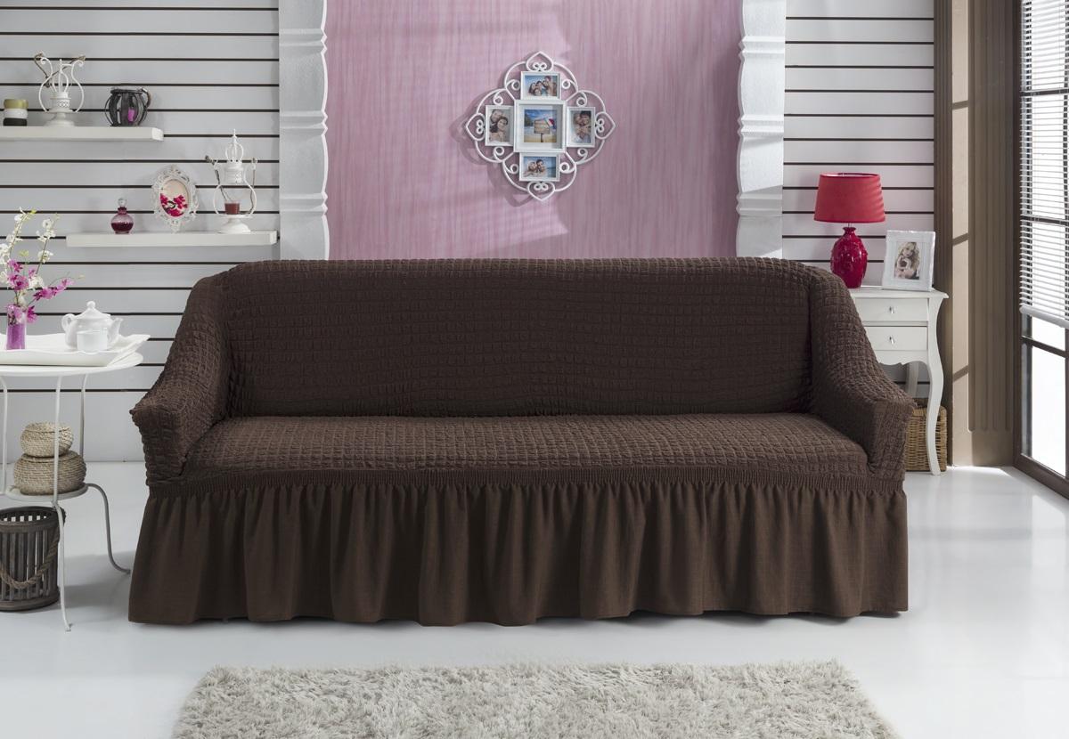 Чехол для дивана Burumcuk Bulsan, трехместный, цвет: шоколадный чехол для дивана burumcuk bulsan угловой левосторонний пятиместный цвет вишневый