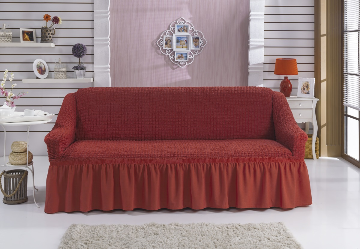 Чехол для дивана Burumcuk Bulsan, трехместный, цвет: кирпичный чехол для дивана burumcuk bulsan трехместный цвет зеленый