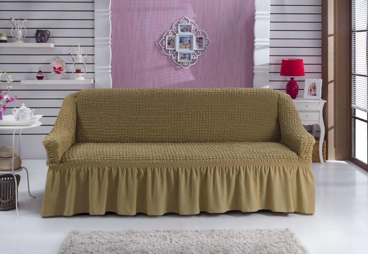 Чехол для дивана Burumcuk Bulsan, трехместный, цвет: кофейный чехол для дивана burumcuk bulsan угловой левосторонний пятиместный цвет вишневый