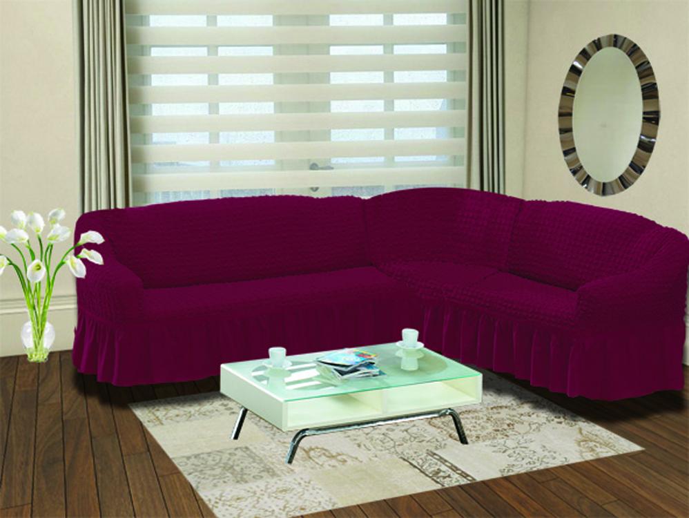 Чехол для дивана Burumcuk Bulsan, угловой, правосторонний, пятиместный, цвет: темно-бордовый чехол для дивана burumcuk bulsan угловой левосторонний пятиместный цвет вишневый
