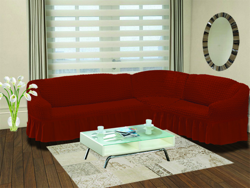 Чехол для дивана Burumcuk Bulsan, угловой, правосторонний, пятиместный, цвет: темно-красный чехол для дивана burumcuk bulsan трехместный цвет зеленый