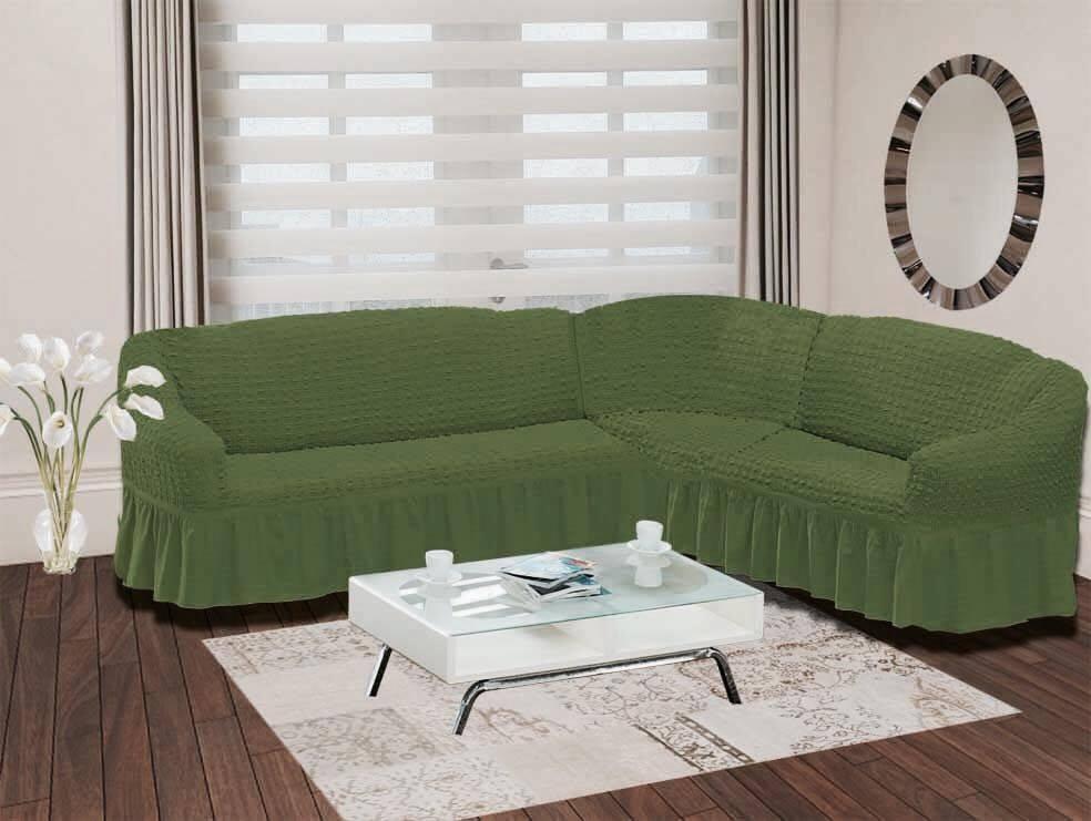 Чехол для дивана Burumcuk Bulsan, угловой, правосторонний, пятиместный, цвет: зеленый чехол для дивана burumcuk bulsan трехместный цвет зеленый