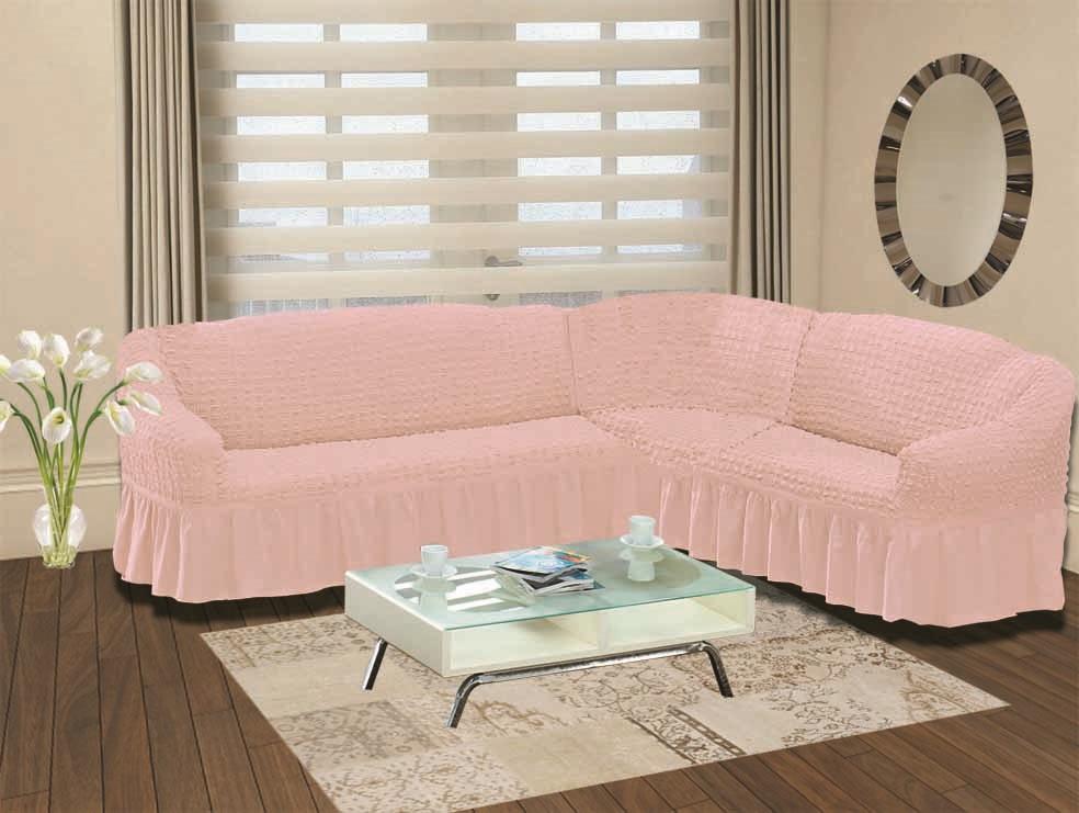 Чехол для дивана Burumcuk Bulsan, угловой, правосторонний, пятиместный, цвет: розовый чехол для дивана burumcuk bulsan угловой левосторонний пятиместный цвет вишневый