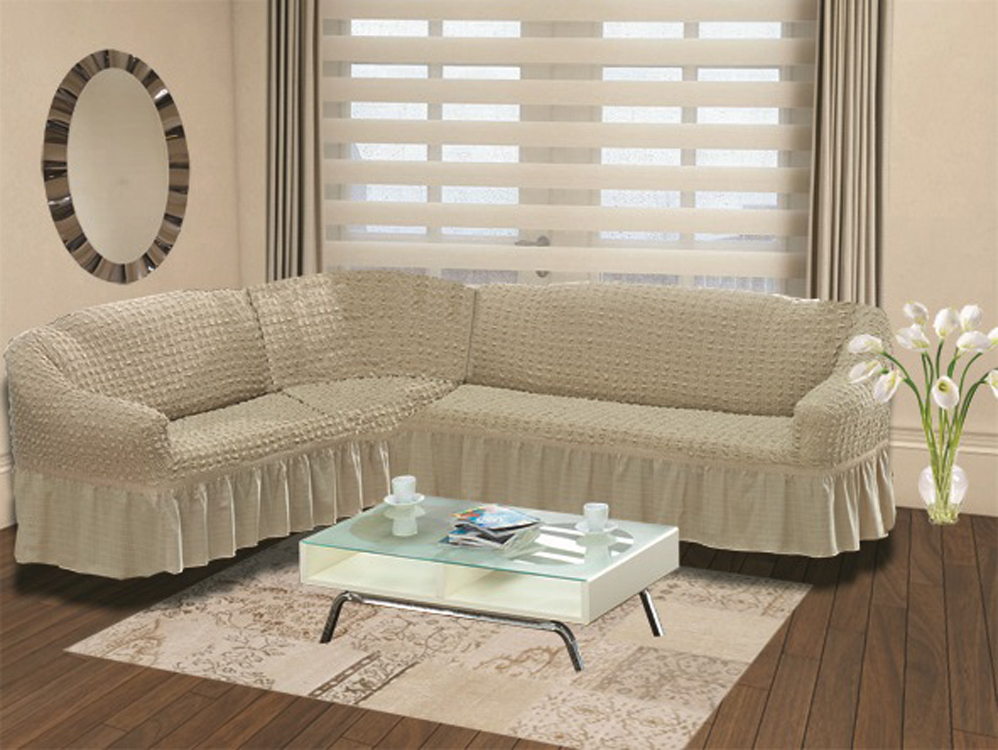 Чехол для дивана Burumcuk Bulsan, универсальный, пятиместный, цвет: бежевый чехол для дивана burumcuk bulsan угловой левосторонний пятиместный цвет вишневый