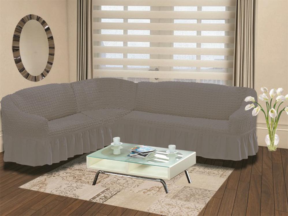Чехол для дивана Burumcuk Bulsan, угловой, левосторонний, пятиместный, цвет: серый чехол для дивана burumcuk bulsan угловой левосторонний пятиместный цвет вишневый