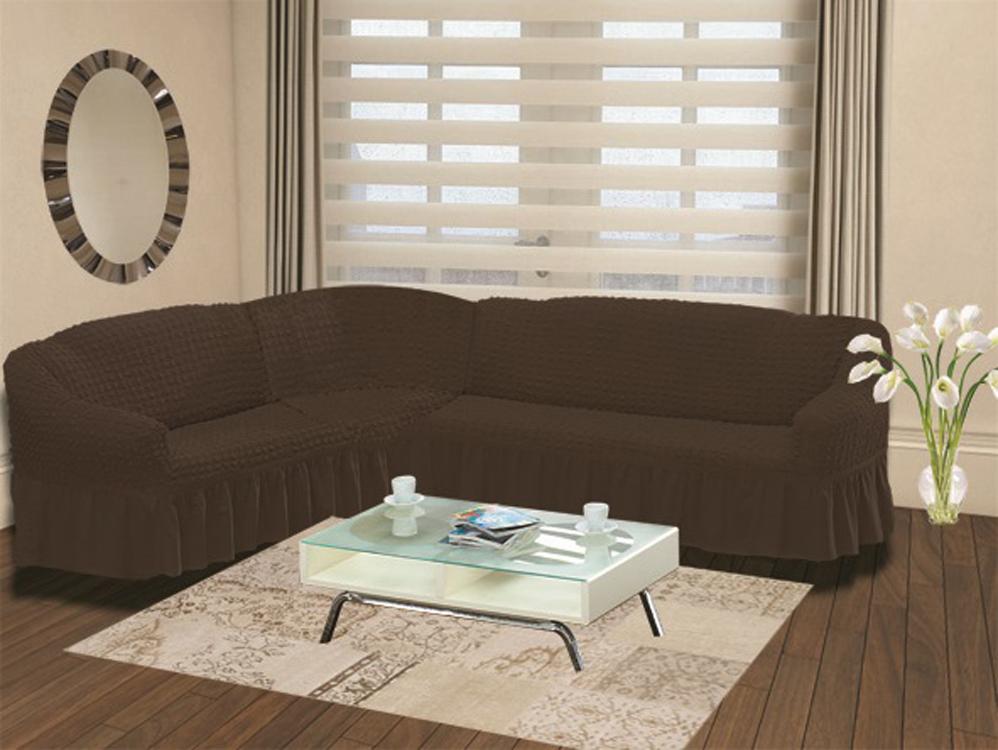 Чехол для дивана Karna Bulsan, угловой, левосторонний, пятиместный, цвет: темно-коричневый чехол для дивана burumcuk bulsan угловой левосторонний пятиместный цвет вишневый