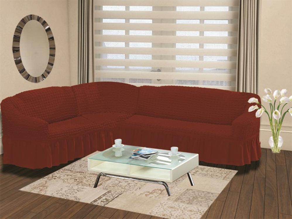 Чехол для дивана Burumcuk Bulsan, угловой, левосторонний, пятиместный, цвет: кирпичный чехол для дивана burumcuk bulsan угловой левосторонний пятиместный цвет вишневый