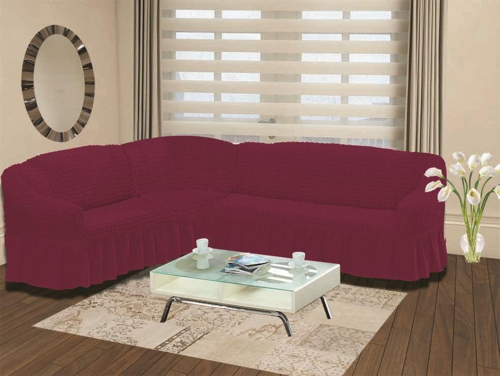 Чехол для дивана Burumcuk Bulsan, угловой, левосторонний, пятиместный, цвет: вишневый чехол для дивана burumcuk bulsan трехместный цвет зеленый
