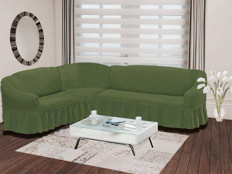 Чехол для дивана Burumcuk Bulsan, угловой, левосторонний, пятиместный, цвет: зеленый чехол для дивана burumcuk bulsan трехместный цвет зеленый