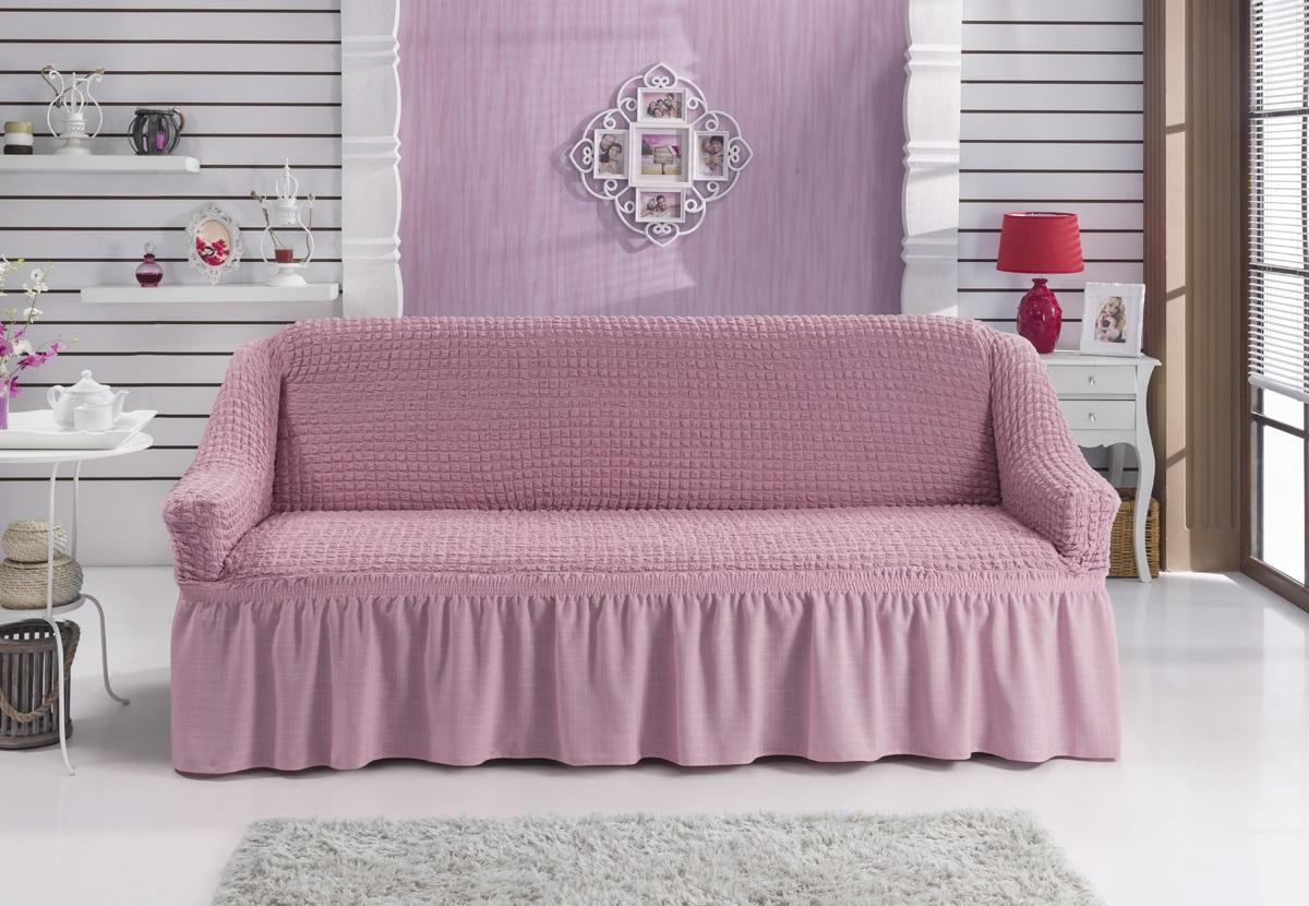 Чехол для дивана Karna Bulsan, двухместный, цвет: светло-розовый2027/CHAR012Фиксаторы позволяют надежно закрепить чехол Karna Bulsan на вашей мебели. Они вставляются в расстояние между спинкой и сиденьем, фиксируя чехол в одном положении, и не позволяют ему съезжать и терять форму. Фиксаторы особенно необходимы в том случае, если у вас кожаная мебель или мебель нестандартных габаритов. Выполнен чехол из высококачественного полиэстера и хлопка. Ширина посадочных мест: 140-180 см. Глубина посадочных мест: 70-80 см. Высота спинки от посадочного места: 70-80 см. Ширина подлокотников: 25-35 см. Высота юбки: 35 см. Рекомендуем!