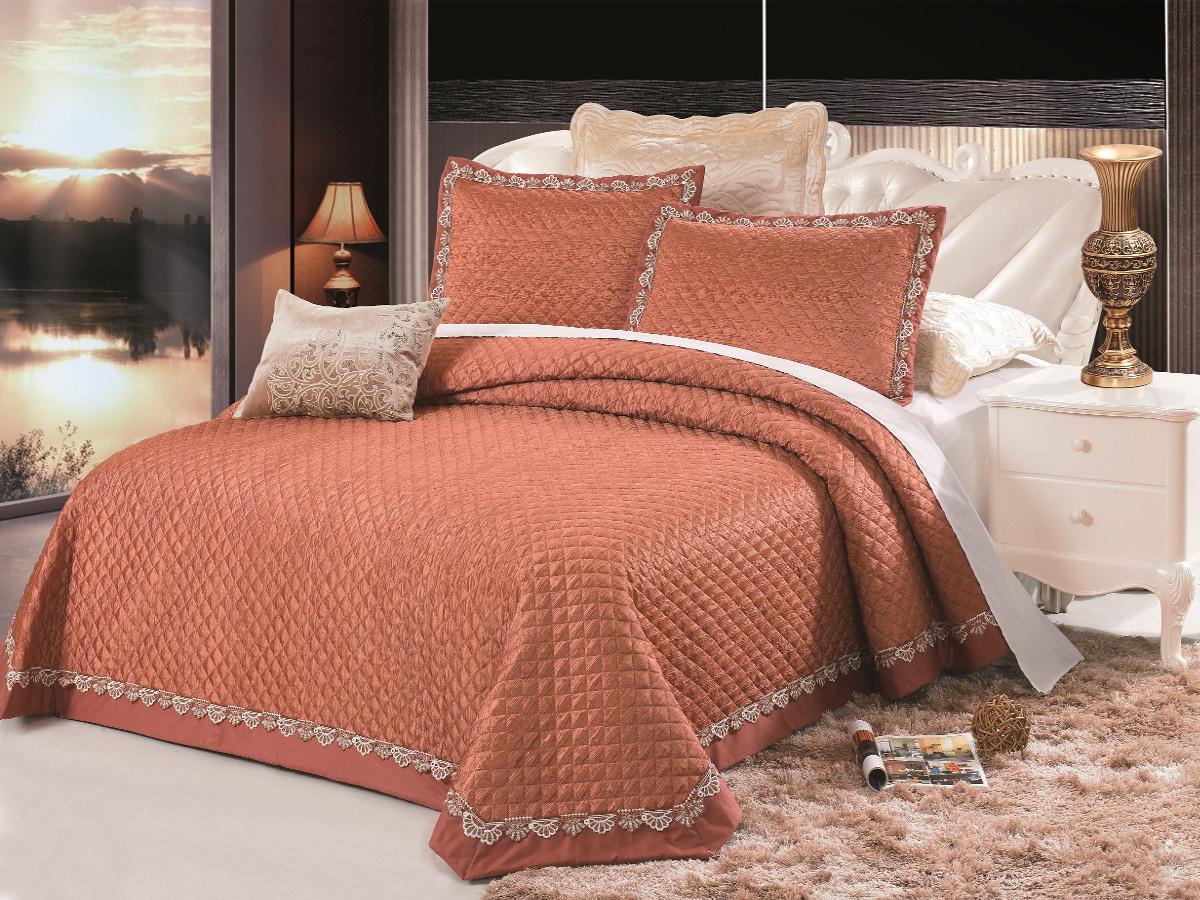Комплект для спальни Cleo: покрывало 230 х 250 см, 2 наволочки 50 х 70 см, цвет: оранжевый комплект для спальни сайлид twiggi покрывало 230 х 250 см 2 наволочки 50 х 70 см цвет голубой