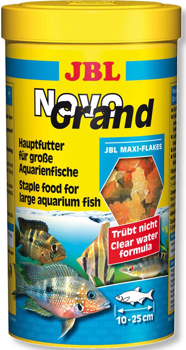 Корм JBL NovoGrand в форме крупных хлопьев для крупных видов рыб, 1000 мл корм для рыб jbl novogranocolor основной в форме гранул для яркой окраски рыб в банке 250мл 120г