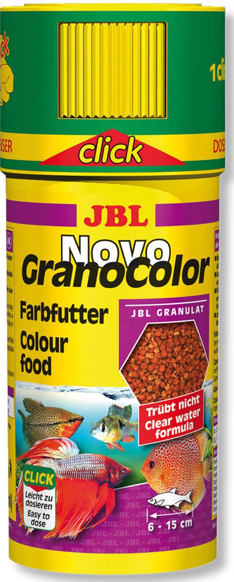 Корм JBL NovoGranoColor Click для особенно яркой окраски рыб, в форме гранул, 250 мл корм для рыб jbl novogranocolor основной в форме гранул для яркой окраски рыб в банке 250мл 120г