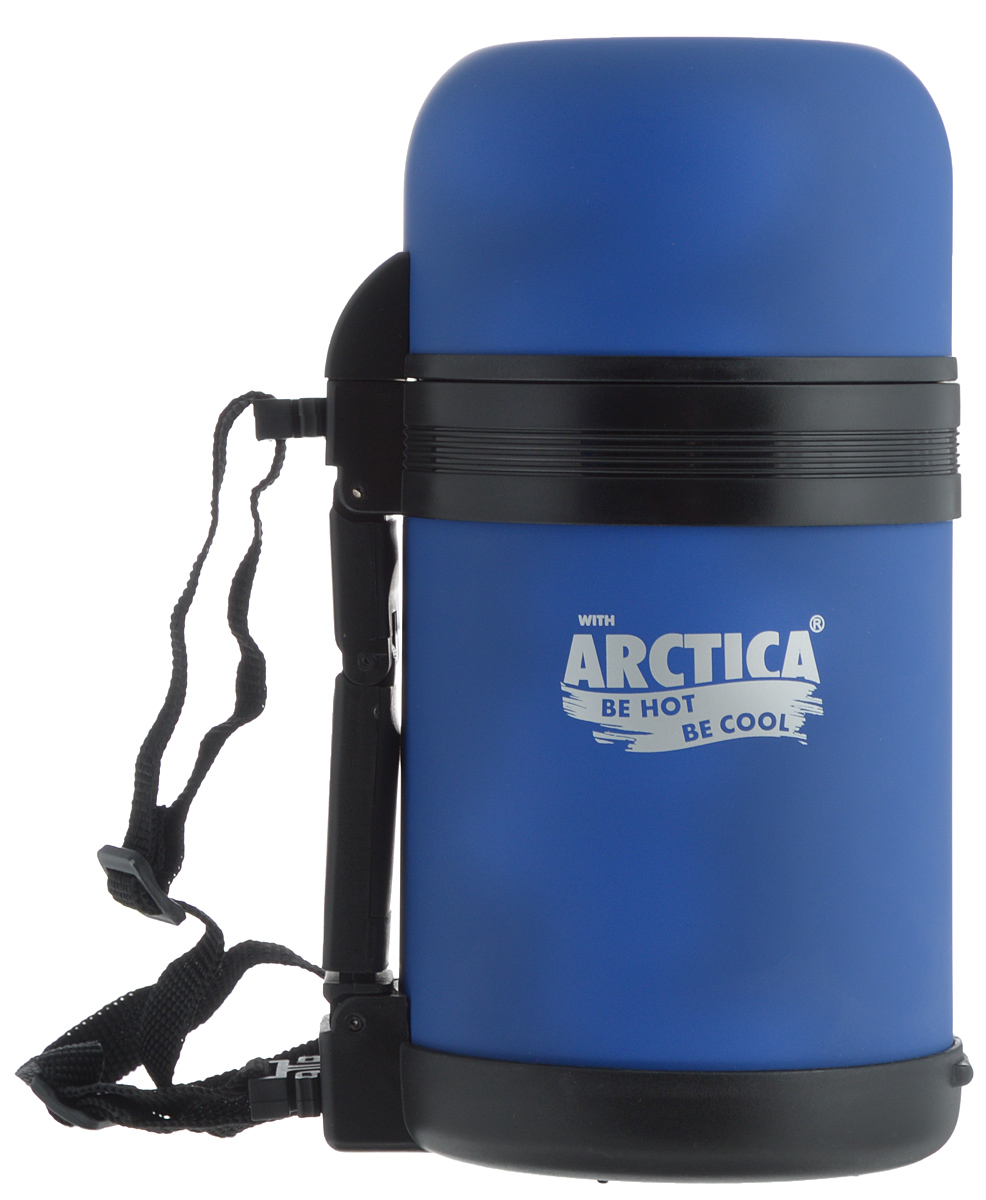 "Термос ""Арктика"", с чашкой, цвет: синий, 0,8 л"