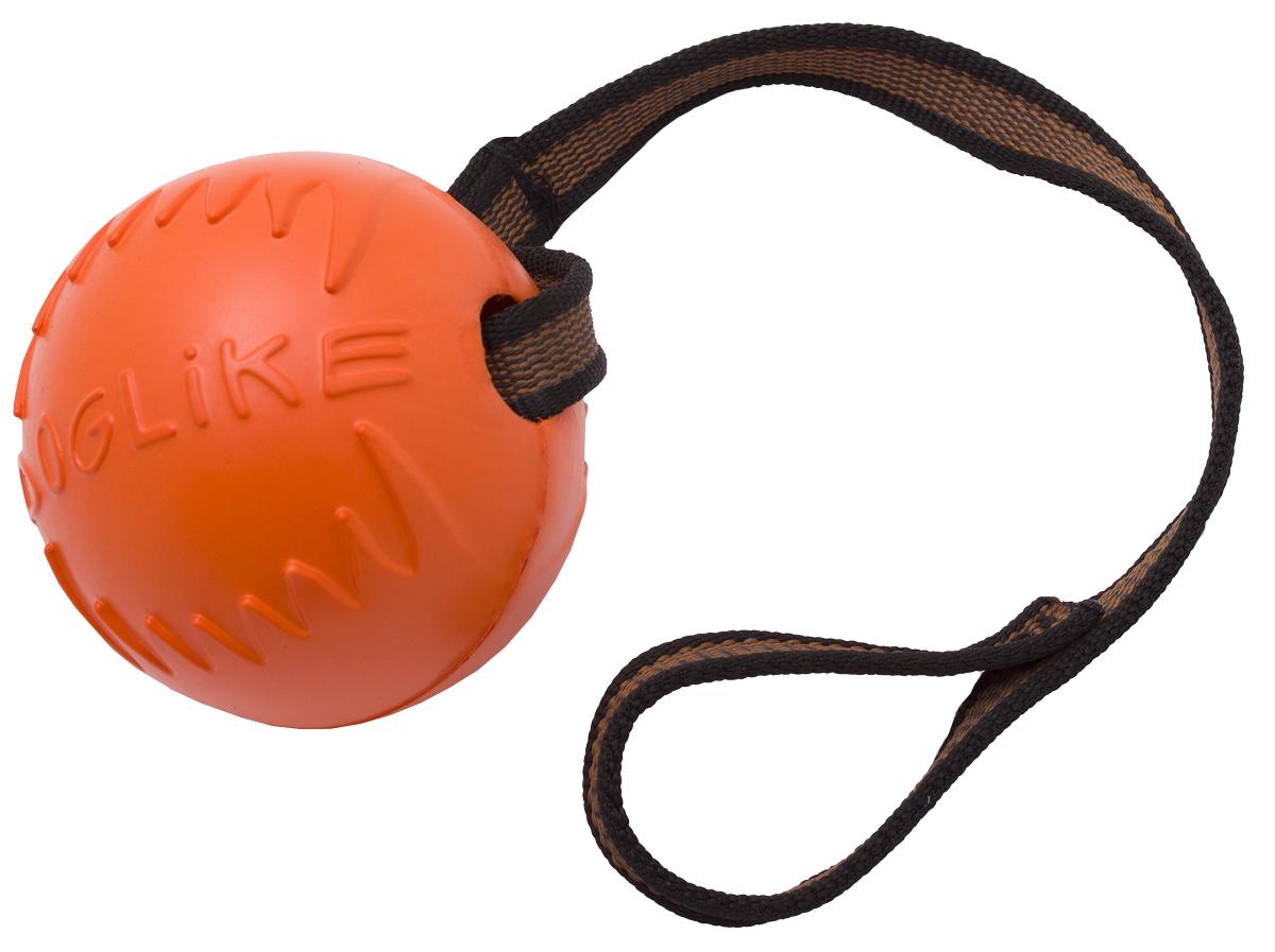 """Игрушка для собак Doglike """"Мяч с лентой"""", цвет: оранжевый, диаметр 10 см"""
