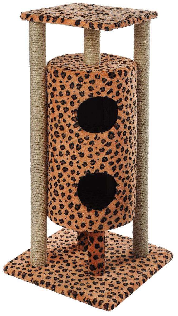 Домик-когтеточка Меридиан Ракета, 5-ярусный, цвет: коричневый, черный, 51 х 51 х 104 см домик когтеточка меридиан геометрия угловой 4 ярусный 55 х 48 х 158 см