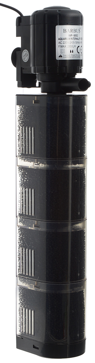 Фильтр внутренний аквариумный Barbus WP-6002, камерный, 2800 л/ч, 40 Вт фильтр внутренний аквариумный sea star hx 1380f камерный с бионаполнителем 1800 л ч 25 вт