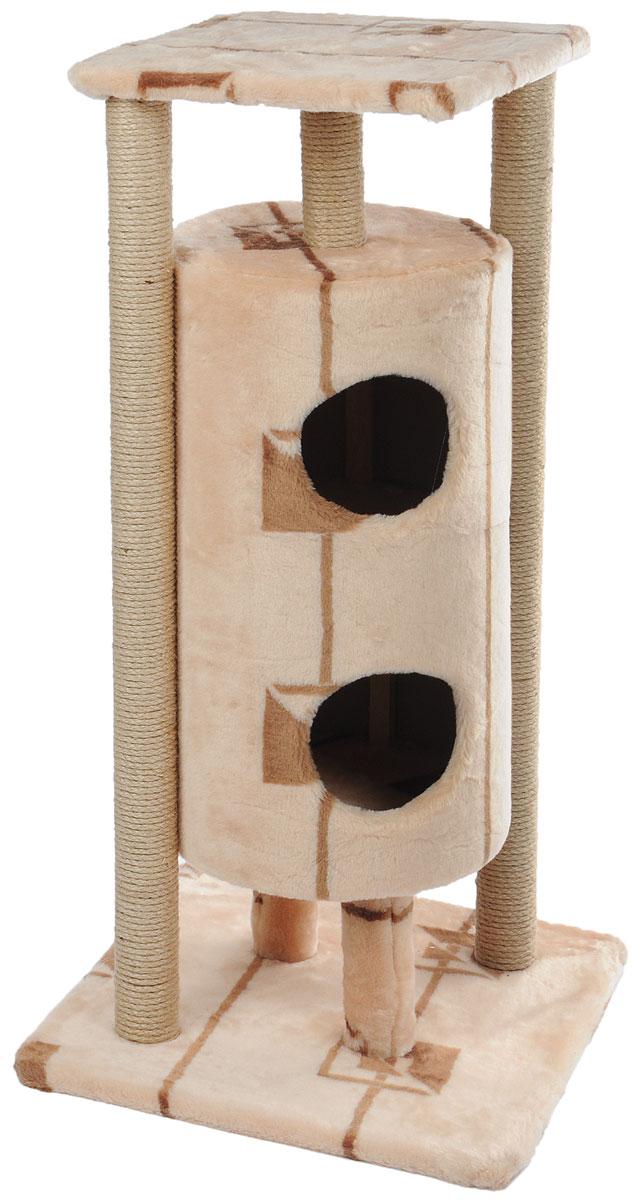 Домик-когтеточка Меридиан Ракета, 5-ярусный, цвет: бежевый, коричневый, 51 х 51 х 104 см домик когтеточка меридиан геометрия угловой 4 ярусный 55 х 48 х 158 см