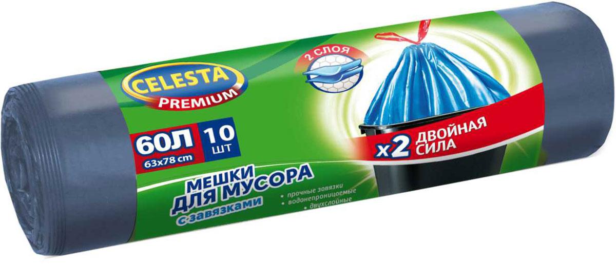 Мешки для мусора Celesta, с завязками, 60 л, 10 шт мешки для мусора celesta с ушками 60 л 16 шт
