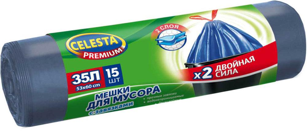 Мешки для мусора Celesta, с завязками, 35 л, 15 шт мешки для мусора celesta с ушками 60 л 16 шт