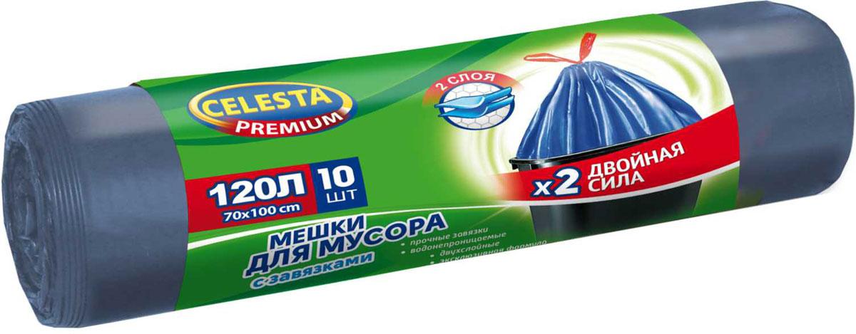 Мешки для мусора Celesta, с завязками, 120 л, 10 шт мешки для мусора celesta с ушками 60 л 16 шт