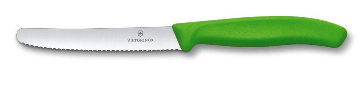 Нож для томатов и сосисок Victorinox SwissClassic, цвет: зеленый, длина лезвия 11 см цена