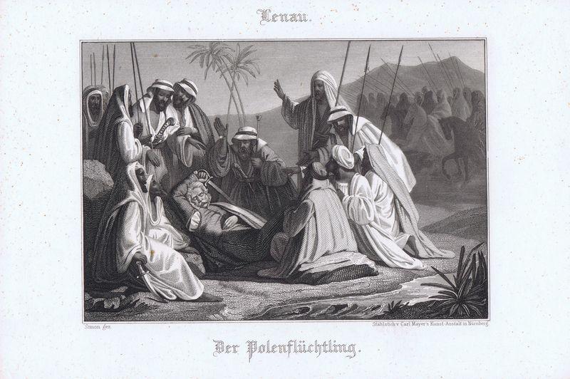 Польский беженец. Офорт. Германия, Штутгарт, 1880 год гратц а беженец