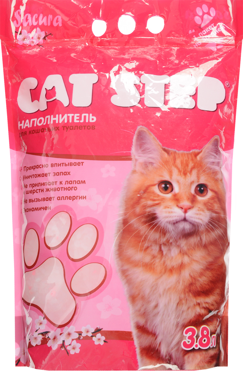Наполнитель для кошачьих туалетов Cat Step, силикагель, сакура, 3,8 л Уцененный товар (№4)